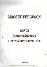 Massey Ferguson MF 25  Trailer Parts Book  .................... in 4 Languages !