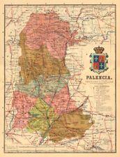 Palencia. Castilla y León. mapa antiguo de la provincia. Alberto Martin c1911