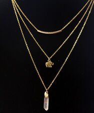 DF19 Gold Layered Natural Quartz Dainty Lucky Elephant Charm Necklace