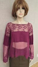 Free People long sleeve lace embroidery boho top tank shirt blouse topper S M L