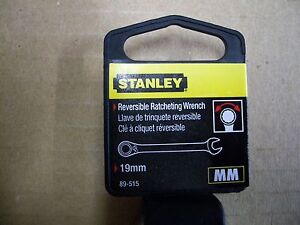 New STANLEY 19 mm  Metric Reversible Ratchet Wrench    19 mm