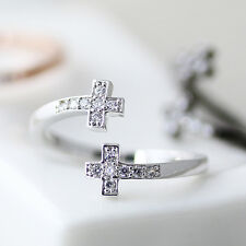 Sideways Crystal Cross Ring Adjustable Free Size Color Selection Gift Idea RC21