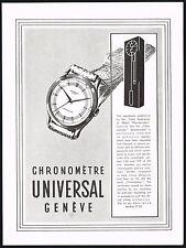 1950s Old Vintage 1951 Universal Geneve Chronometer Swiss Watch Art Print Ad