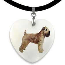 Soft-Coated Wheaten Terrier Natural Mother Of Pearl Heart Pendant Necklace PP41