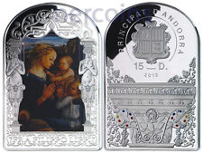 Andorra 2013 Renaissance Madonna by Lippi 15D Pure Silver 50g Colored Coin