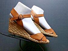 Palomitas by Paloma Barcelo Tan Leather Ankle/Slingback Wedge Sz. 38/7.5 MINT!