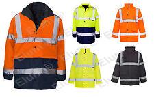 2 Tone Parka Hi Viz Waterproof Storm Padded Jacket Mens Coat Workwear Security