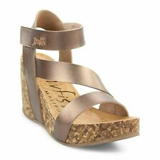 Blowfish NEW Hapuku amber metallic brown high wedge heel platform sandals 3-8
