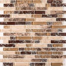 30x30cm Brown and White Crackle Glass & Marble Mosaic Tile Sheet (MT0154)