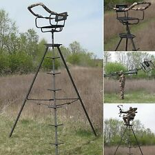 Deer Stand Ladder 13' Tripod Hunting Rifle Archery Outdoor Steel Swivel Big Game