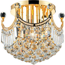 "World Crystal Crown A 16"" 6 light Crystal Flush Mount ceiling Light Gold"