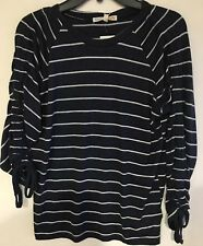 C&C California Women's Navy/White Stripe Ruched Tie Long Or 3/4 Sleeve , MD, New