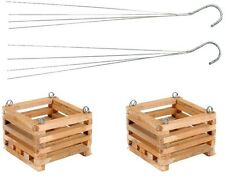 6 in. Wooden Square Hanging Baskets Home Outdoor Garden Plant Wood Pot (2-Pack)