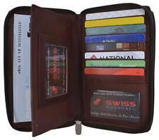 Womens Zip Around Genuine Leather Checkbook Credit Card ID Holder Wallet Brown