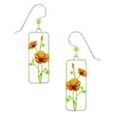 Sienna Sky California Poppies Rectangle Pierced Earrings Handmade in Colorado