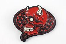 Gürtelschnalle - **Devil Skull** Rot/Schwarz - Metall (USA) f. 40 mm Wechselg.