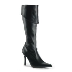 """Women's Pirate  boot shoe 3 3/4"""" heel Black  Pu   NEW Pleaser"""