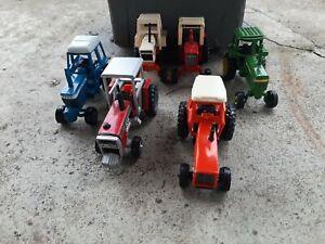 Vintage ERTL lot 6 Ford MF Agri king Deere Allis Chalmers 1/64 Farm Tractors 70s
