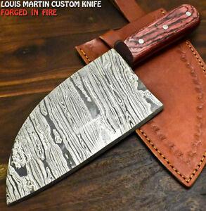 Louis Martin Handmade Damascus Steel Hard Wood Hunting Clever Chopper Axe Knife