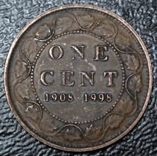 1908-1998 CANADA ONE CENT .925 SILVER - ANTIQUE Finish- 90th Anniv. RCM