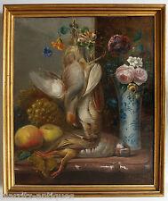 HST - Nature morte au vase, perdreau et bécasse - Signé M. GARON 1859