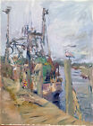 """Boat Nautical Abstract Landscape Oil Painting, 18""""x24"""" Original Canvas"""