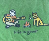 Life is good large green SS tshirt guitar campfire dog fire