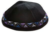 """Velvet Yamaka Kipot Shabbat Yarmulke Kippah Jewish 7.9"""" Black Cup Skull 20cm Hat"""
