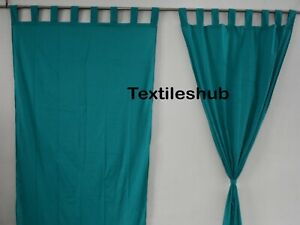 Indian Teal Blue New Curtain Plain Solid Door Hanging Curtain Cotton Curtains AU