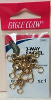 EAGLE CLAW 3 WAY SWIVEL  SZ 1 QTY 5, FREE & PROMPT SHIPPING