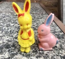 Vintage Plastic Easter Rabbit Plastic Yellow Pink Rattle Toys