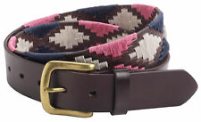 """Mens Luxury Genuine Real Leather 35mm 1.25"""" Embroidered Polo Belt Black Brown"""