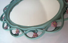 VINTAGE OVAL SYROCO FLORAL WALL MIRROR SYRACUSE ORNAMENTAL CO SAGE GREEN PINK