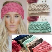 UK Ladies Knitted Ear Warmer Headband Crochet Hat Wool Winter Beanie Empty Skull