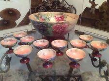 Antique Hand Painted Signed Huge Limoges Punch Bowl & Goblets, L323 Gift Quality