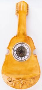 Vintage Ceramic Guitar Narco Quartz Roman Numeral Hanging Wall Clock