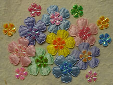 50 fabric FLOWERS  FFE19X Scrapbooking Cards Hair Clips Sewing Applique