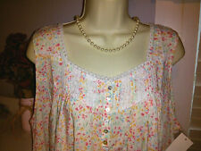 NWT L Large $62 EILEEN WEST NIGHTGOWN Sleeveless Floral Woven Short Chemise