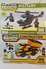 Action Blocs Helicopter 86 PC & Dump Truck 96 pc Ages 4+  New  Box Damage