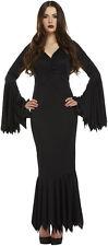 Long Black Womens Vampiress Countess Halloween Fancy Dress Size 12 - 14 P7864