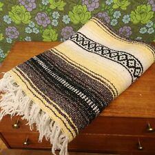 Mexican Yellow Grey Woven Stripy Falsa Yoga Blanket / Throw