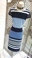 🌹BETTY BARCLAY🌹NEW £99 DESIGNER BLUE STRIPE PANEL PRINT COCKTAIL DRESS UK 12