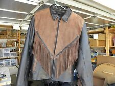 HYDE OUT Leather Motorcycle Jacket Large Laced Sides Fringes Thinsulate