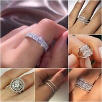Elegant Women Jewelry 925 Silver Rings White Sapphire Wedding Rings Size 5-10