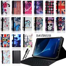 """LEATHER STAND COVER CASE + Bluetooth Keyboard For Samsung Galaxy 7 8"""" 10"""" Tablet"""