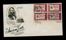 Scott# 1143 1960 Abraham Lincoln Credo Art Craft First Day Cover w/Block w/P#
