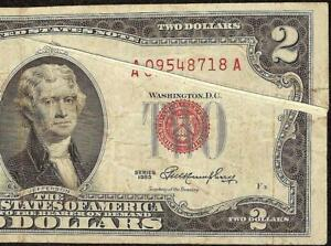 1953 $2 DOLLAR GUTTER FOLD ERROR RED SEAL LEGAL TENDER NOTE PAPER MONEY Fr 1509