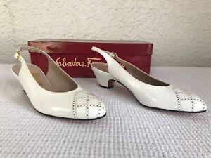 NEW Salvatore Ferragamo White Leather Slingbacks Heels 7 AA Shoes