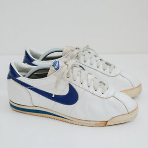 Vintage 1985 Nike Cortez Size 9 - White Leather Blue Olympic Jordan Bruin Canvas
