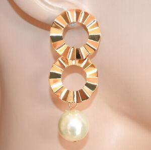 PENDIENTES mujer ORO perla blanca dorada aros colgantes woman earrings CC23